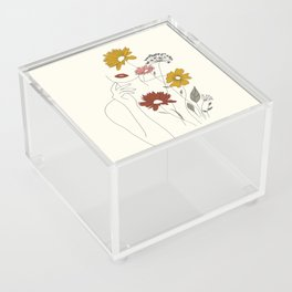 Colorful Thoughts Minimal Line Art Woman with Flowers III Acrylic Box