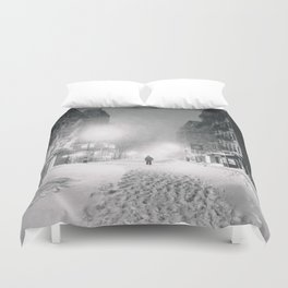 Alone in a Blizzard - New York City Duvet Cover