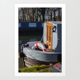 Canal Boat in Sunshine Art Print