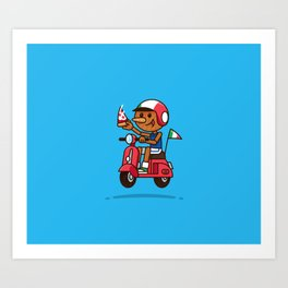 Italy! Pinocchio Eat Pizza and Ride Vespa Art Print