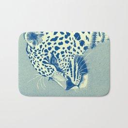 Leopard Turquoise feline glance Bath Mat