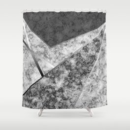 Combined abstract pattern in black and white . Shower Curtain