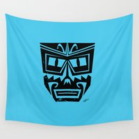 tiki Wall Tapestries featuring Tiki by Nick Salmon
