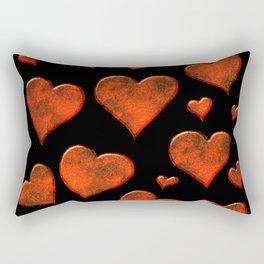 Rusty Red Metallic Hearts Pattern Rectangular Pillow