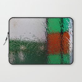 Through the window: Green, red, white colors abstract Laptop Sleeve