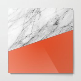 Marble and Flame Color Metal Print