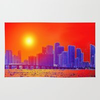 sandman Area & Throw Rugs featuring Downtown Miami   by JT Digital Art