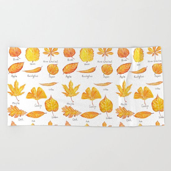 yellow leaves collection Beach Towel