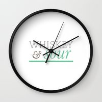 whisky Wall Clocks featuring Whisky & Sour by Laura Huebner