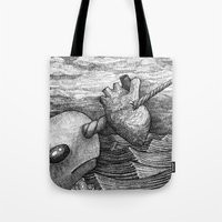 narwhal Tote Bags featuring Narwhal by GrimReminders
