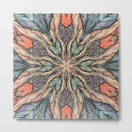 Autumn Leaves Mandala Metal Print