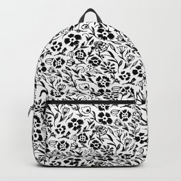Black and White Floral Mini Print Backpack