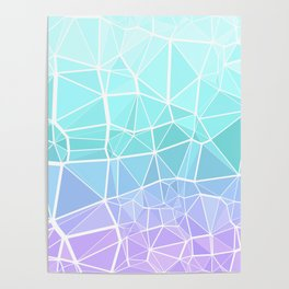 Cyan, Turquoise, and Purple Triangles Poster