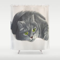 Grey Cat Painting Shower Curtain