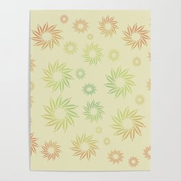 Multicolored flowers with neutral background in pastel colors. Poster