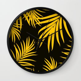 Palm Leaves Pattern Yellow Vibes #1 #tropical #decor #art #society6 Wall Clock