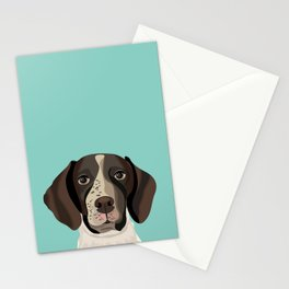 German Shorthair Pointer portrait minty dog portrait cute art gifts for dog breed lovers Stationery Cards