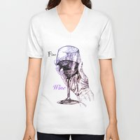 wine V-neck T-shirts featuring Fine Wine by Liam Reading