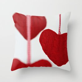 christmas decoration and valentine heart shape Throw Pillow