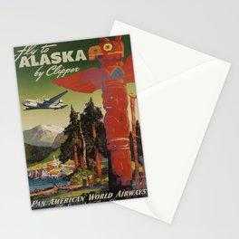 vintage placard Fly to Alaska voyage poster Stationery Cards