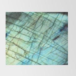 Teal Labradorite Gemstone print Throw Blanket