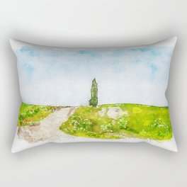 Aquarelle sketch art. Beautiful spring minimalistic landscape with green hills in Tuscany countryside, Italy Rectangular Pillow
