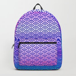 Candy Pop/Navy Blue Watercolor Seigaiha Pattern Backpack