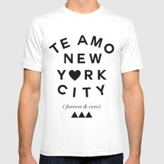 (EXTRA BOLD) TE AMO NEW YORK CITY (forever & ever) Mens Fitted Tee MEDIUM White