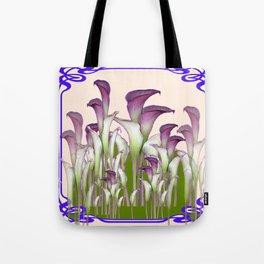 ART NOUVEAU  MAROON CALLA LILIES PURPLE DESIGN Tote Bag