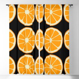 Oranges on Black, Fruit Pattern Blackout Curtain