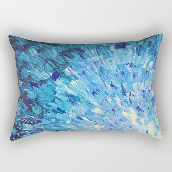 SEA SCALES IN INDIGO - Stunning Ocean Waves Mermaid Fish Navy Royal Blue Marine Abstract Painting Rectangular Pillow