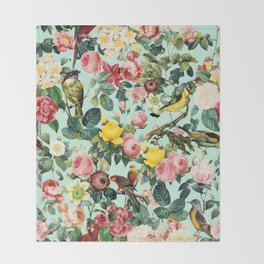 Floral and Birds III Throw Blanket