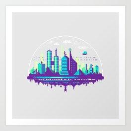 Futuristic City Pixel Art Art Print
