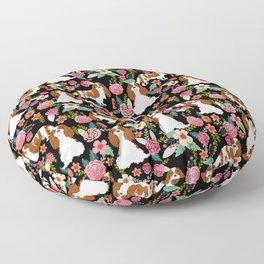 Blenheim Cavalier King Charles Spaniel dog breed florals pattern Floor Pillow
