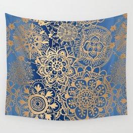Blue and Gold Mandala Pattern Wall Tapestry