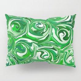 Emerald Green, Green Apple, and White Paint Swirls Pillow Sham