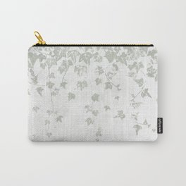 Soft Gray Green and White Trailing Ivy Leaf Print Carry-All Pouch