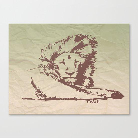 Lion Artwork Vintage Canvas Print