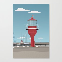 The lighthouse in the harbour in Skanor - light Canvas Print