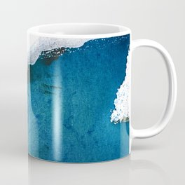 In the Surf: a vibrant minimal abstract painting in blues and gold Coffee Mug