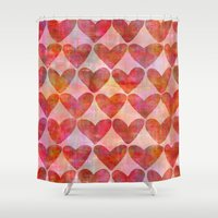 hearts Shower Curtains featuring Hearts by LebensARTdesign