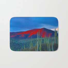 Green Cactus Field In The Desert With Red Mountains Blue Grey Sky Landscape Photography Bath Mat