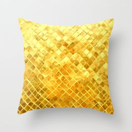 Give me Gold: festive, golden, fashionable, 3-d, glittery, Christmas, cheerful, lattice design Throw Pillow