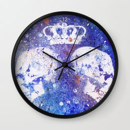 Queendom (spray paint graffiti art, crown with skulls) Wall Clock