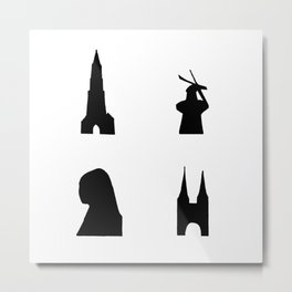 Delft dark silhouette Metal Print