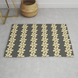 BELLIS floral daisy chain ochre yellow dark taupe background Rug