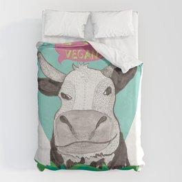 """cow says """"I like Vegans"""" Duvet Cover"""
