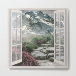 Lavender and Mountain | OPEN WINDOW ART Metal Print