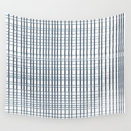 thin blue lines crosshatch Wall Tapestry