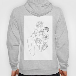 Minimal Line Art Woman with Flowers III Hoodie